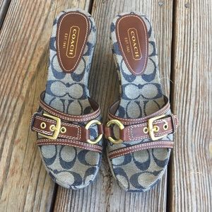 Coach Denim And Leather Sandals